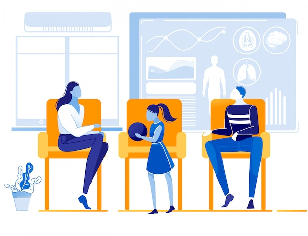 Dessin animé personnes caractères file d'attente au bureau du médecin