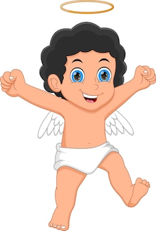 Dessin animé petit ange sur fond blanc