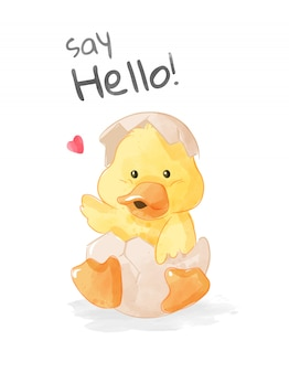 Dessin animé petit canard dans l'œuf d'incubation illustration