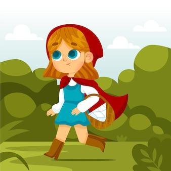 Dessin animé petit chaperon rouge illustré