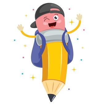Dessin animé petit crayon drôle posant