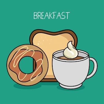 Dessin animé petit déjeuner beignet café pain