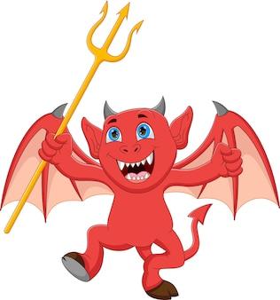 Dessin animé petit diable tenant un trident