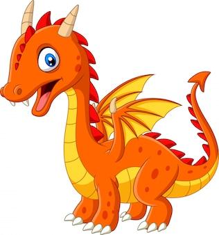 Dessin animé petit dragon isolé sur fond blanc