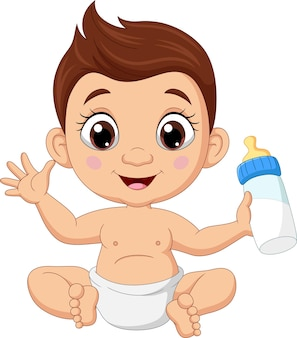 Dessin animé petit garçon assis avec du lait en bouteille