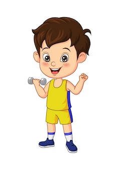Dessin animé petit garçon exerçant avec des haltères
