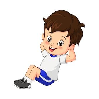 Dessin animé petit garçon faisant de l'exercice