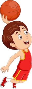 Dessin animé petit garçon jouant au basket