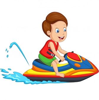 Dessin animé petit garçon monte un jetski
