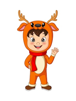 Dessin animé petit garçon vêtu d'un costume de cerf