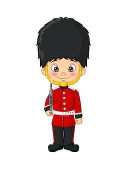 Dessin animé petit garçon vêtu d'un costume de soldats de l'armée britannique