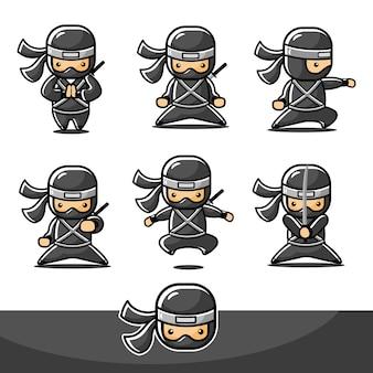 Dessin animé petit jeu d'action ninja avec six actions différentes