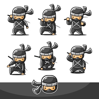 Dessin animé petit ninja noir serti de six nouvelles poses différentes et prêt à attaquer