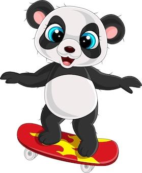 Dessin animé petit panda jouant à la planche à roulettes