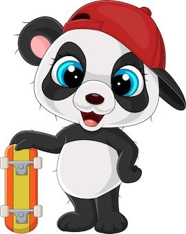 Dessin animé petit panda tenant une planche à roulettes