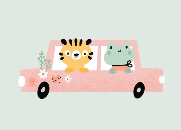 Dessin animé petit tigre grenouille sur une voiture mignons bébés animaux conduisant une automobile