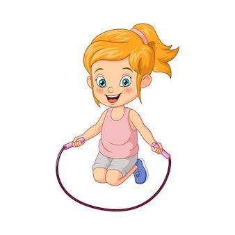 Dessin animé petite fille à la corde à sauter