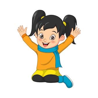 Dessin animé petite fille heureuse en pull chaud