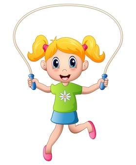 Dessin animé petite fille jouant la corde à sauter