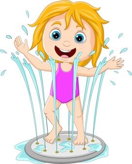 Dessin animé petite fille jouant à la fontaine d'eau