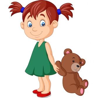 Dessin animé petite fille avec ours en peluche