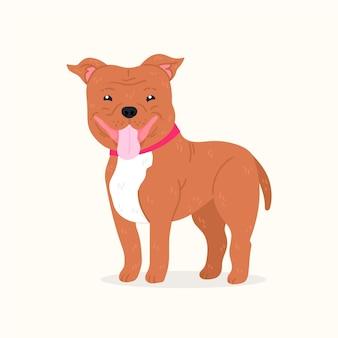 Dessin animé petite illustration de pitbull