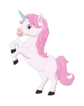 Dessin animé petite licorne magique rose