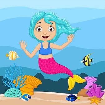 Dessin animé petite sirène dans le monde sous-marin
