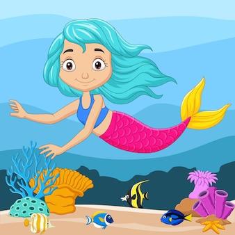 Dessin animé petite sirène sous l'eau