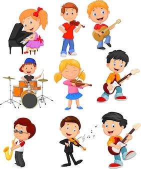 Dessin animé petits enfants jouant de la musique