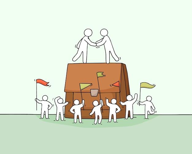 Dessin animé de petits gens d'affaires avec un gros boîtier. doodle scène miniature mignonne de travailleurs sur la coopération. illustration vectorielle dessinés à la main.
