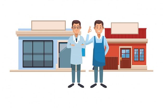 Dessin animé de pharmacie et de restaurant