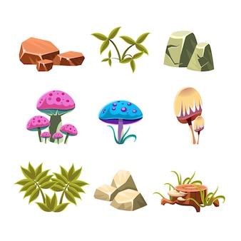 Dessin animé pierres, champignons et buissons mis en illustration vectorielle
