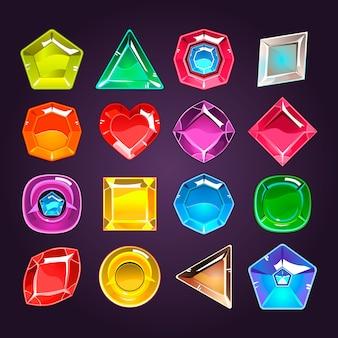 Dessin animé de pierres colorées avec différentes formes à utiliser dans le jeu