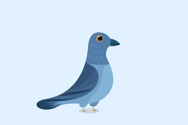 Dessin animé pigeon mignon dessiné à la main