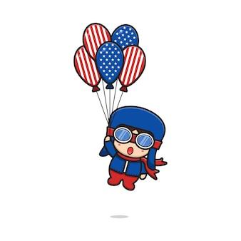 Dessin animé pilote mignon tenant des ballons imprimés aux états-unis d'amérique et illustration flottante