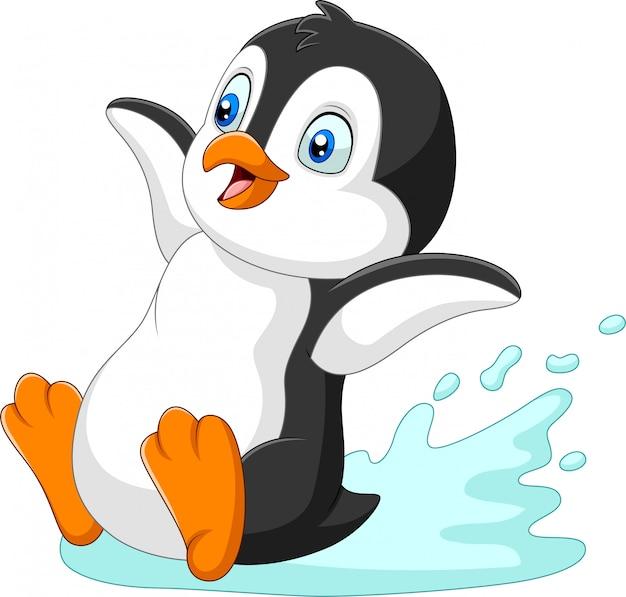 Dessin animé de pingouin glissant sur l'eau