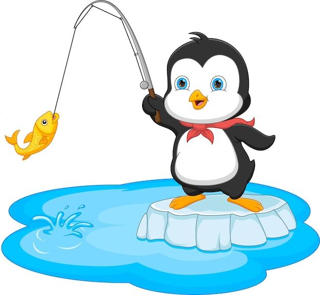 Dessin animé, pingouin, pêche, isolé, blanc, fond