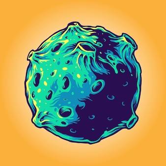 Dessin animé planète galaxie cosmonaute