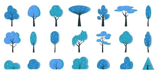 Dessin animé plat arbre et buisson bleu hiver