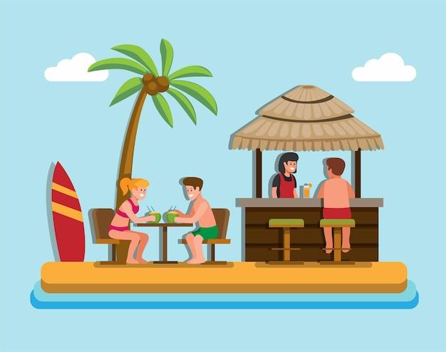 Dessin animé plat de café de plage d'été