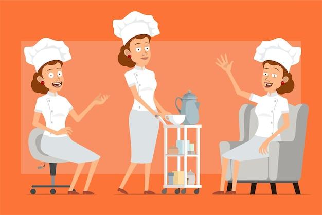 Dessin animé plat drôle chef cuisinier personnage de femme en uniforme blanc et chapeau de boulanger. fille reposant sur un canapé et marchant avec une table basse d'hôtel.