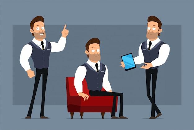 Dessin animé plat drôle mignon fort personnage d'homme d'affaires musclé avec cravate noire. prêt pour les animations. garçon montrant un nouveau geste de smartphone et d'attention. isolé sur fond gris. grand jeu d'icônes.