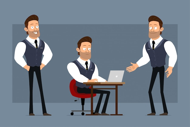 Dessin animé plat drôle mignon fort personnage d'homme d'affaires musclé avec cravate noire. prêt pour les animations. garçon travaillant sur ordinateur portable et se serrant la main. isolé sur fond gris. grand jeu d'icônes.