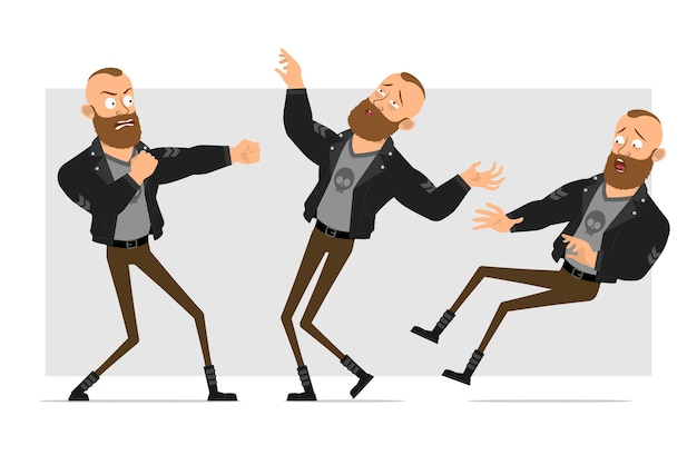 Dessin animé plat drôle personnage fort barbu punk homme avec mohawk en veste de cuir. garçon en colère se battre et tomber inconscient.