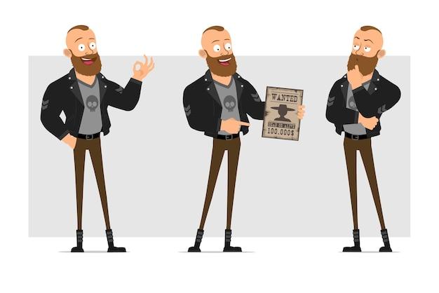 Dessin animé plat drôle personnage fort barbu punk homme avec mohawk en veste de cuir. garçon tenant une pancarte voulue et montrant un geste correct.