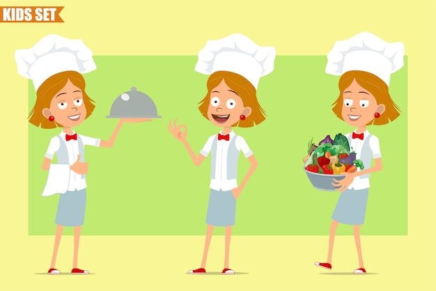 Dessin animé plat drôle petit chef cuisinier personnage de fille en uniforme blanc et chapeau de boulanger. kid transportant un pot en métal avec des légumes frais et un plateau.