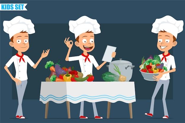 Dessin animé plat drôle petit chef cuisinier personnage garçon en uniforme blanc et chapeau de boulanger. note de lecture des enfants et cuisson des aliments à partir de légumes.