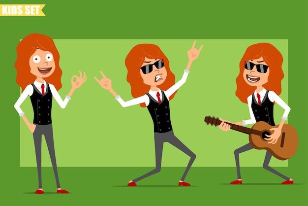 Dessin animé plat drôle petit personnage de fille rousse en costume d'affaires avec une cravate rouge. enfant jouant à la guitare et montrant le signe du rock and roll. prêt pour l'animation. isolé sur fond vert. ensemble.