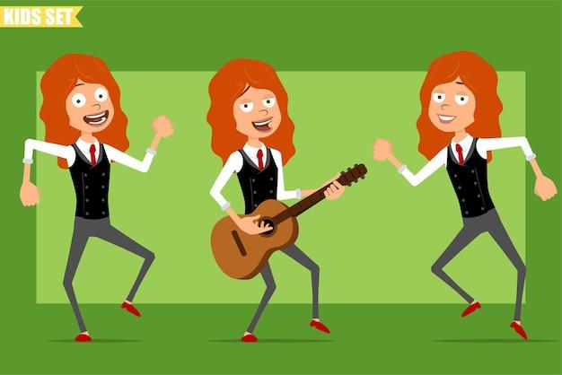 Dessin animé plat drôle petit personnage de fille rousse en costume d'affaires avec une cravate rouge. kid sautant, dansant et jouant du rock à la guitare. prêt pour l'animation. isolé sur fond vert. ensemble.
